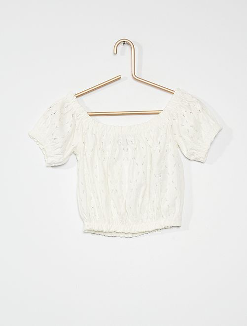 T-shirt crop top                             bianco neve