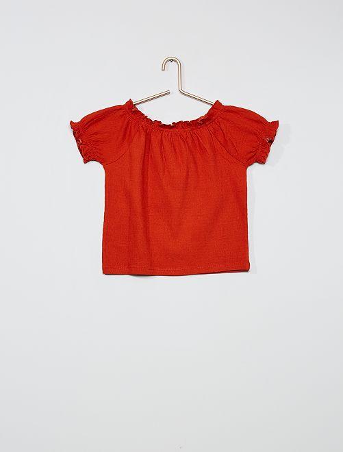 T-shirt cropped con scollo bardot                                                                                                     ARANCIONE
