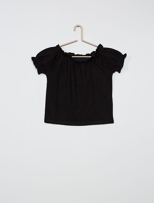 T-shirt cropped con scollo bardot                             nero