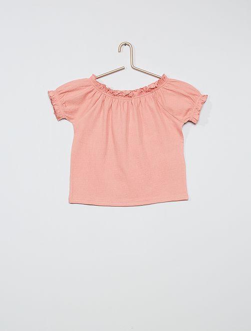 T-shirt cropped con scollo bardot                                                                                                     ROSA