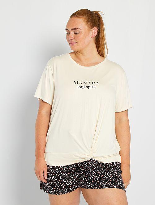 T-shirt da yoga annodata                                         BIANCO