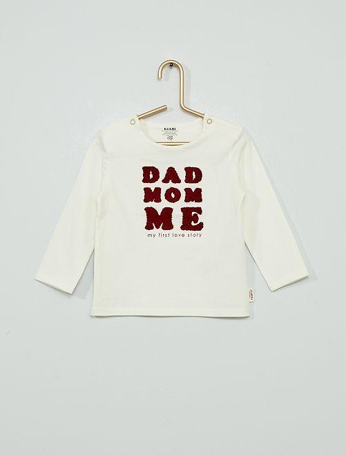T-shirt 'Dad Mom Me' eco-sostenibile                                                                 BIANCO
