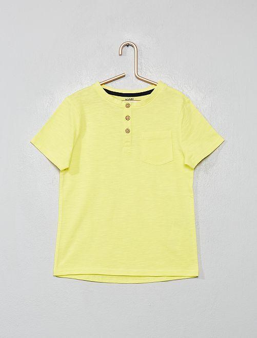 T-shirt eco-sostenibile collo serafino                                                                 giallo