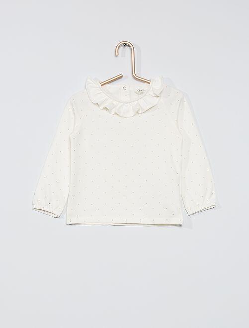 T-shirt eco-sostenibile con colletto e stampa                                                                             BIANCO