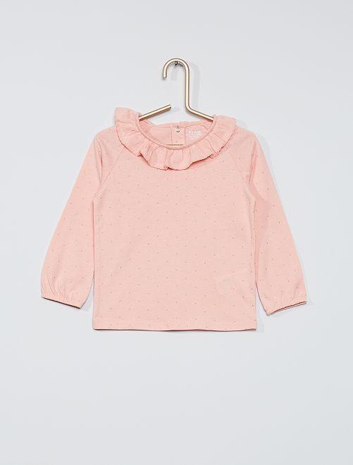 T-shirt eco-sostenibile con colletto e stampa                                                                             ROSA