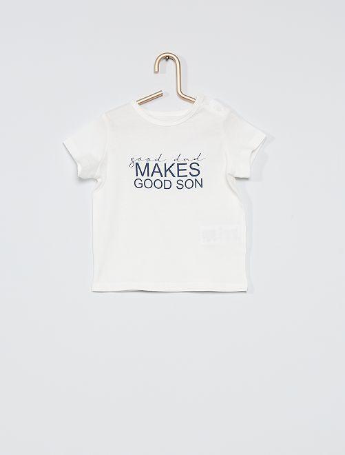 T-shirt 'eco-sostenibile' con scritta                             BIANCO
