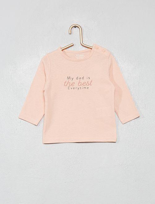 T-shirt 'eco-sostenibile' con scritta                                 ROSA