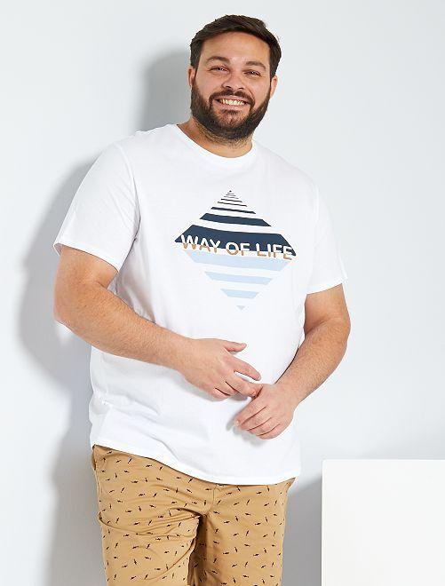 T-shirt eco-sostenibile con stampa grafica                     BIANCO