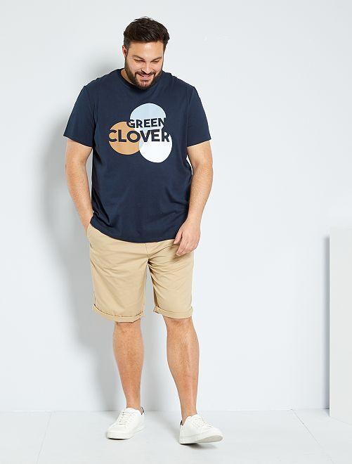 T-shirt eco-sostenibile con stampa grafica                                         BLU