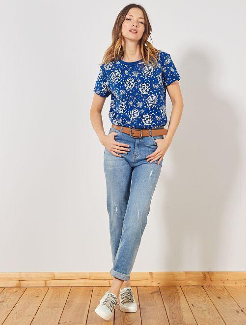 T-shirt eco-sostenibile 'fiori'                                                                                                                                                                                                                             BLU