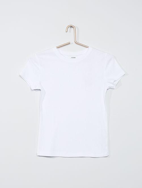 T-shirt eco-sostenibile in maglia a coste                                                                             bianco