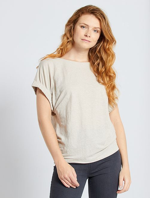 T-shirt fluida maniche fantasia                                                                 BEIGE