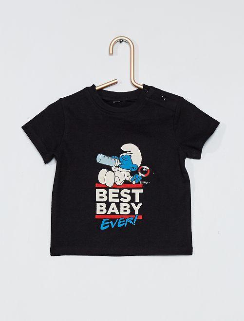 T-shirt 'I Puffi'                             nero
