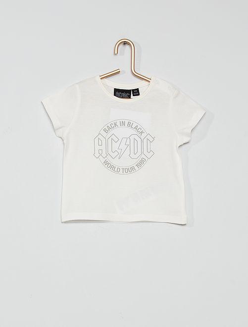 T-shirt in cotone 'ACDC'                             ecru