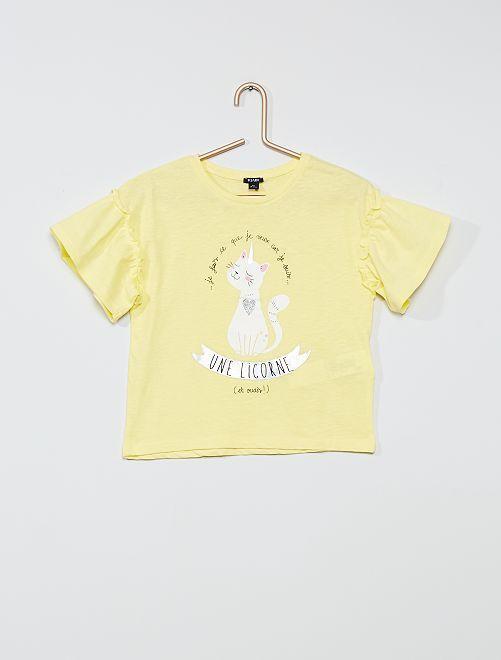 T-shirt in cotone 'unicorno'                                         GIALLO