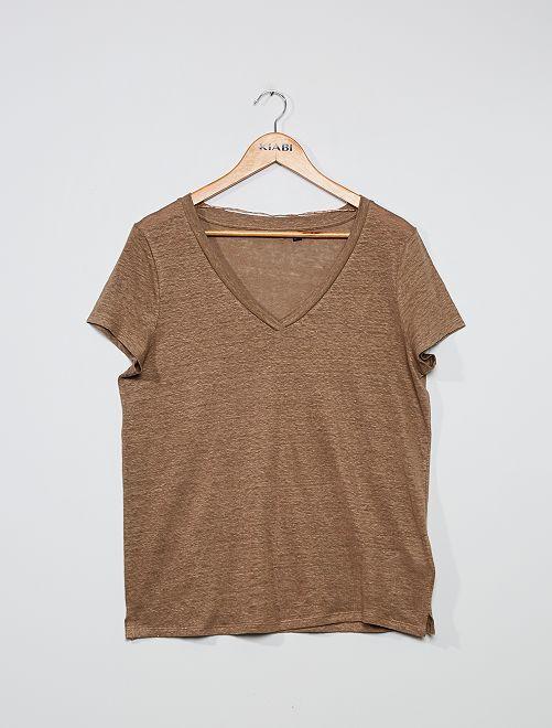 T-shirt in lino                                                                 grigio beige