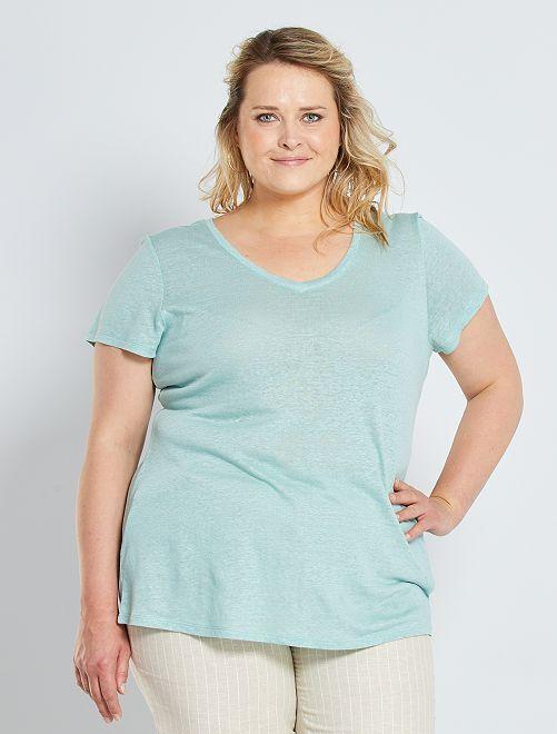 T-shirt in lino                                                     grigio verde