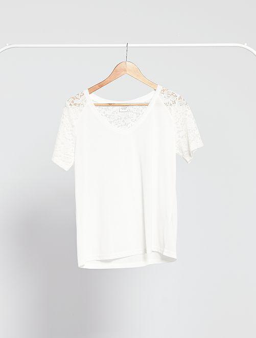 T-shirt in maglia e pizzo -                                         bianco