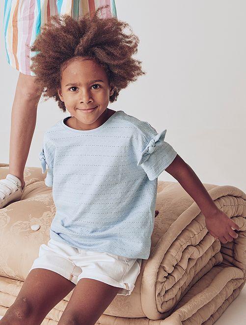 T-shirt in maglia fantasia                                                                 BLU
