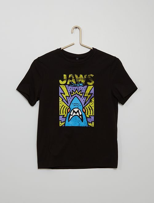 T-shirt in maglia jersey 'Jaws'                             NERO