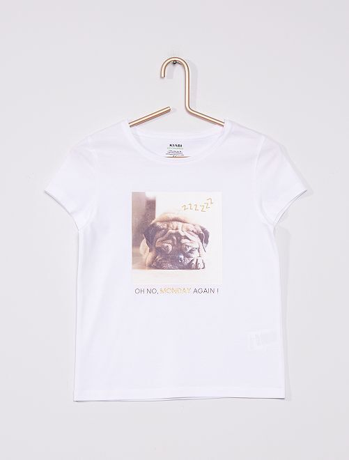 T-shirt in maglia jersey stampata                                                                                                     BIANCO