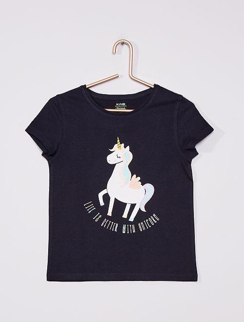 T-shirt in maglia jersey stampata                                                                                             BLU