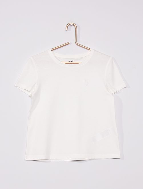 T-shirt in maglia jersey tinta unita                                                                                                     BIANCO