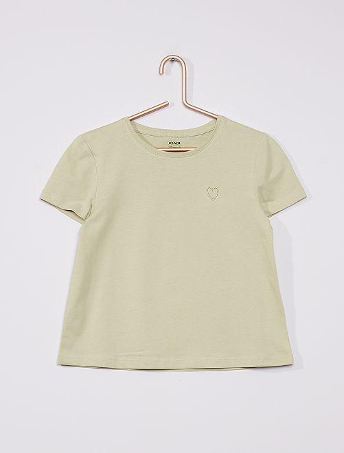 T-shirt in maglia jersey tinta unita                                                                                             VERDE