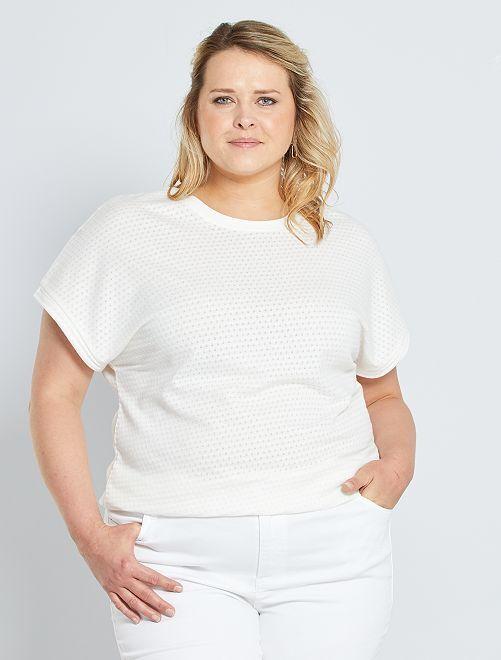 T-shirt in maglia traforata                     bianco neve