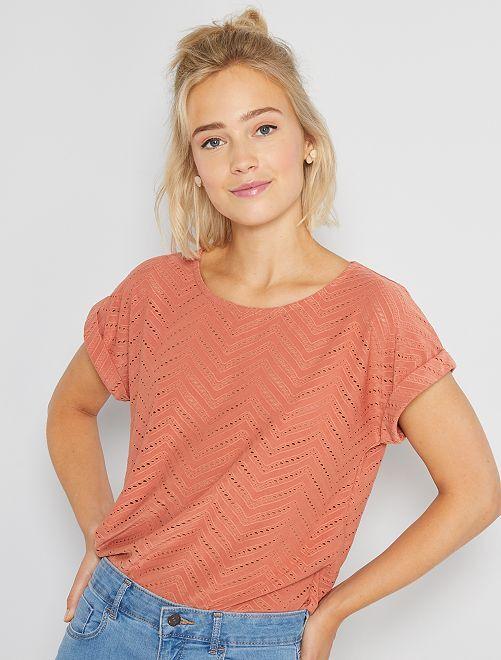 T-shirt in maglia traforata                                                                 ROSSO