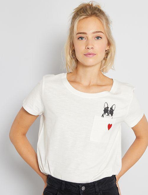 T-shirt 'JDY' stampa 'cane'                             BIANCO