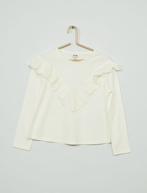 T-shirt maniche lunghe con volant                                                                 bianco neve