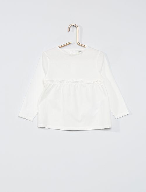 T-shirt maniche lunghe eco-sostenibile                                         bianco neve