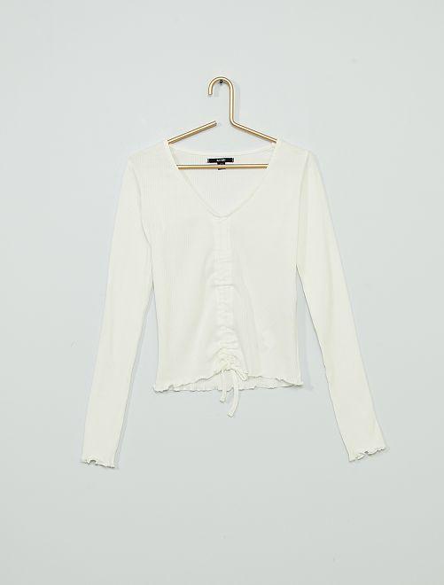 T-shirt maniche lunghe elasticizzata davanti                                                                 bianco neve