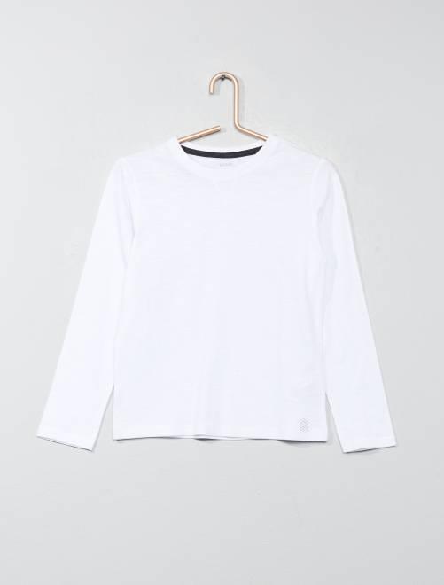 T-shirt maniche lunghe in puro cotone                     bianco