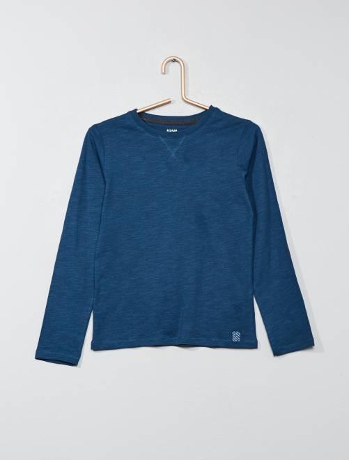 T-shirt maniche lunghe in puro cotone                                                                     BLU Infanzia bambino
