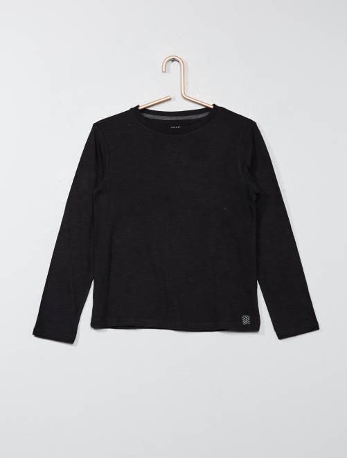 T-shirt maniche lunghe in puro cotone                                 nero