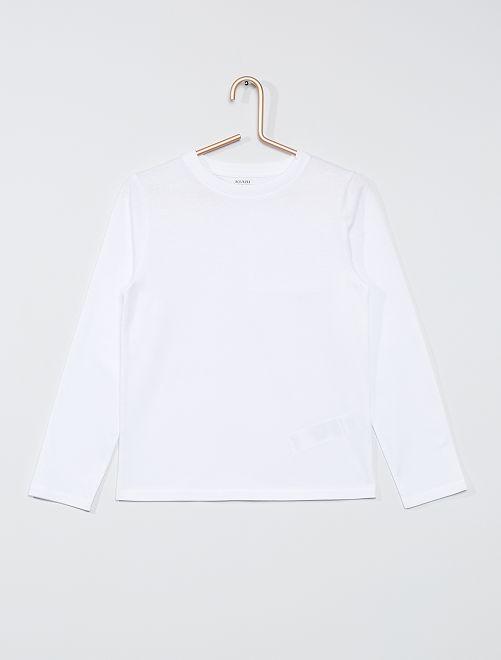 T-shirt maniche lunghe tinta unita                                                     bianco