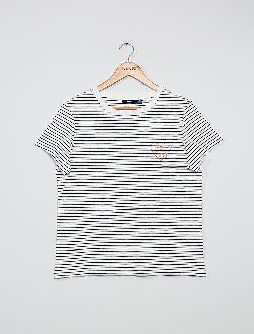 T-shirt marinière                             BIANCO