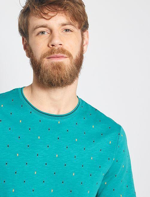 T-shirt micro motivo etnico                                                                 BLU