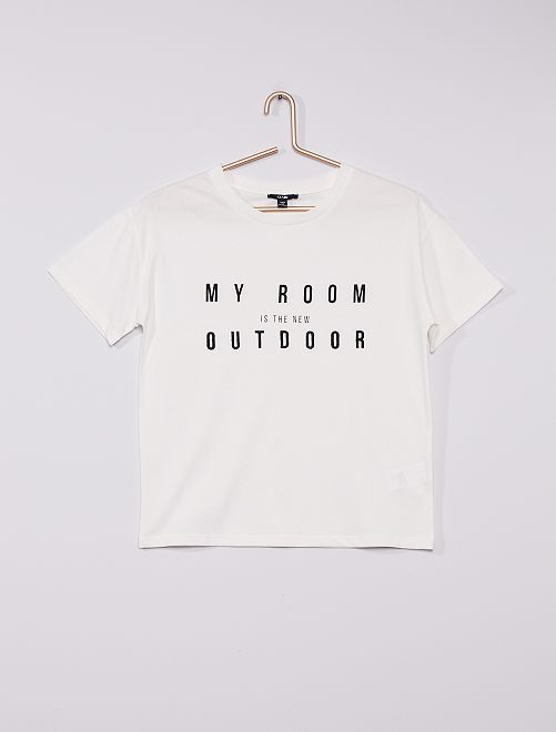 T-shirt 'My room is the new outdoor'                             bianco