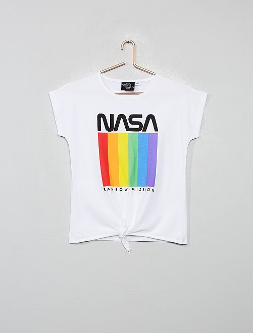 T-shirt 'Nasa' con fiocco sul fondo                             bianco