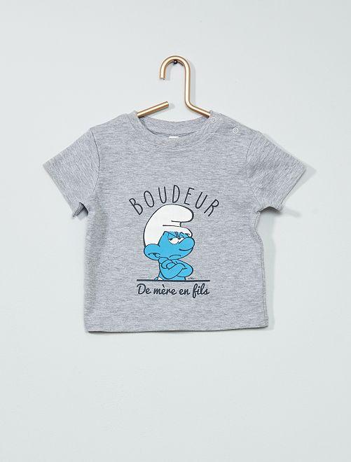 T-shirt 'Puffo Imbronciato'                             grigio