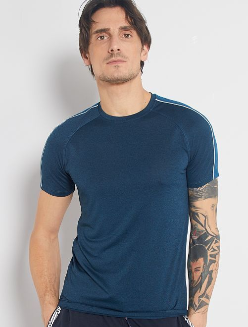 T-shirt regular in microfibra                                         BLU