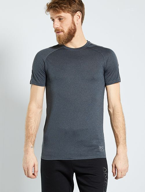 T-shirt regular in microfibra                                         NERO