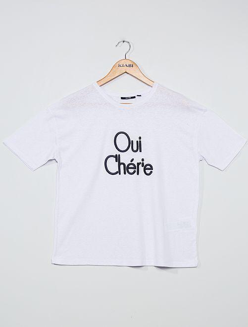 T-shirt ricamata                                         BLU