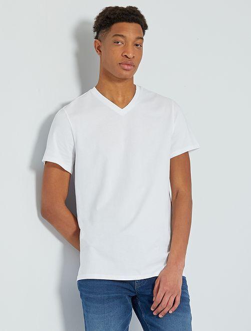 T-shirt scollo a V +190 cm                                                                                                     bianco