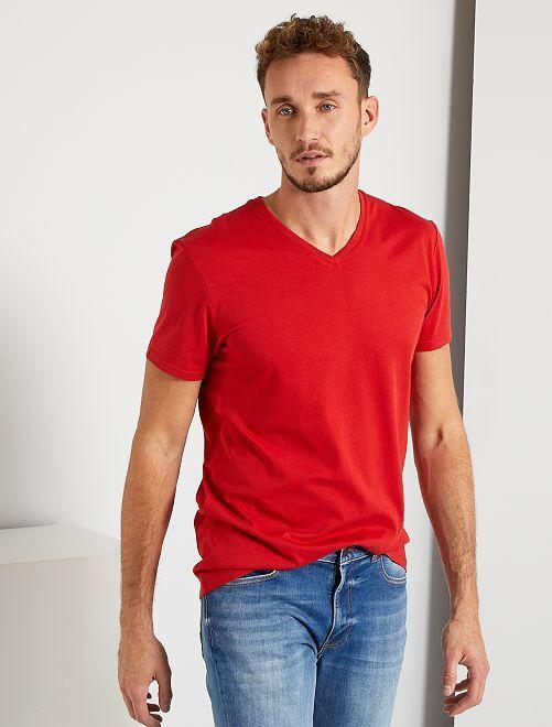 T-shirt scollo a V +190 cm                                                                                                                 rosso pompiere