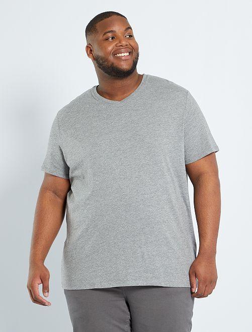 T-shirt scollo a V                                                                                         GRIGIO