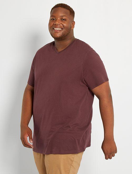 T-shirt scollo a V                                                                                                                             marrone prugna